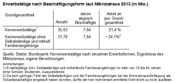 Beschäftigungsformen laut Mikrozensus 2013